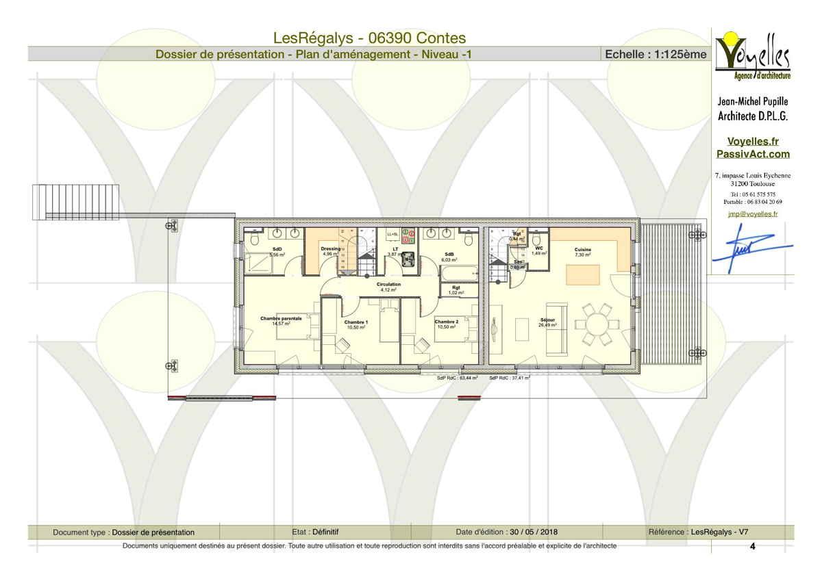 Maison passive LesRégalys, plan du RdC