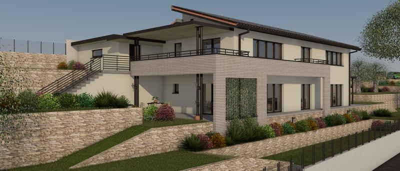 Maison passive LesRégalys, vue 3D sud-ouest