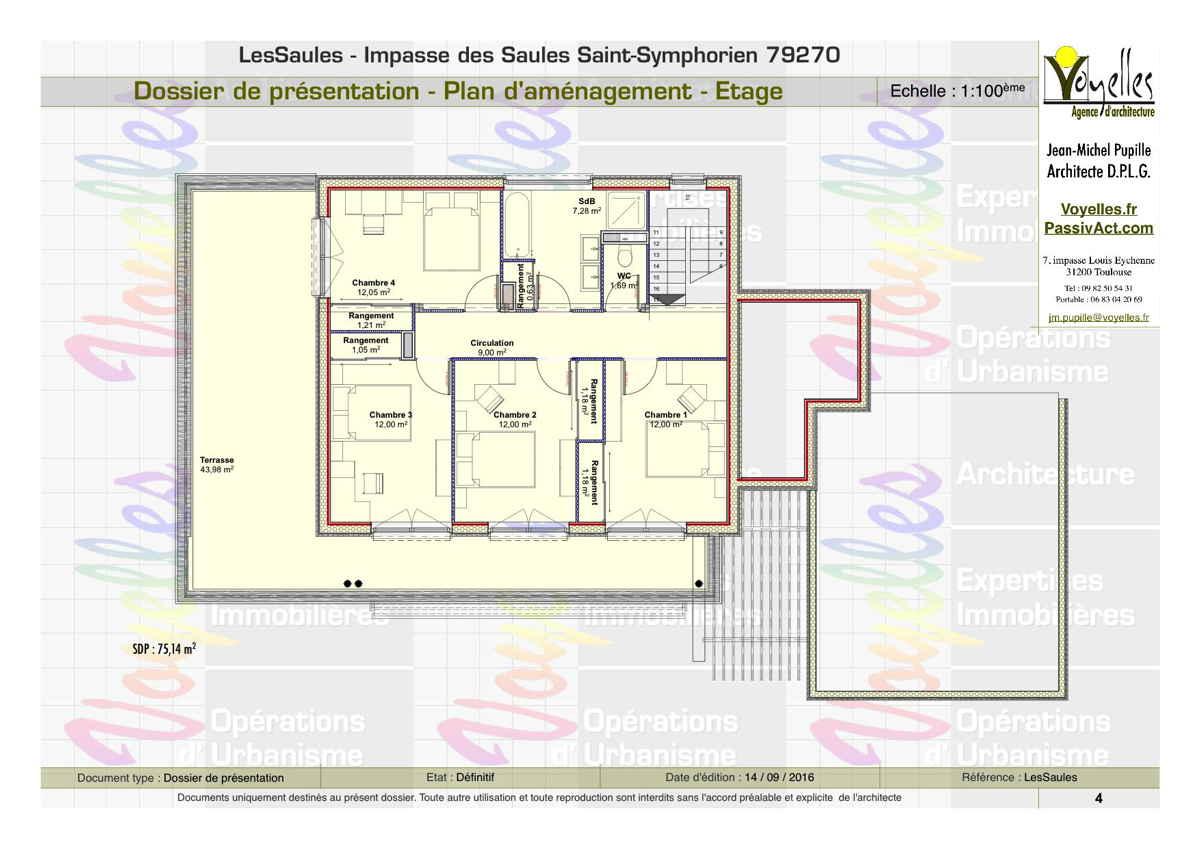 Maison passive LesSaules, plan de l'étage