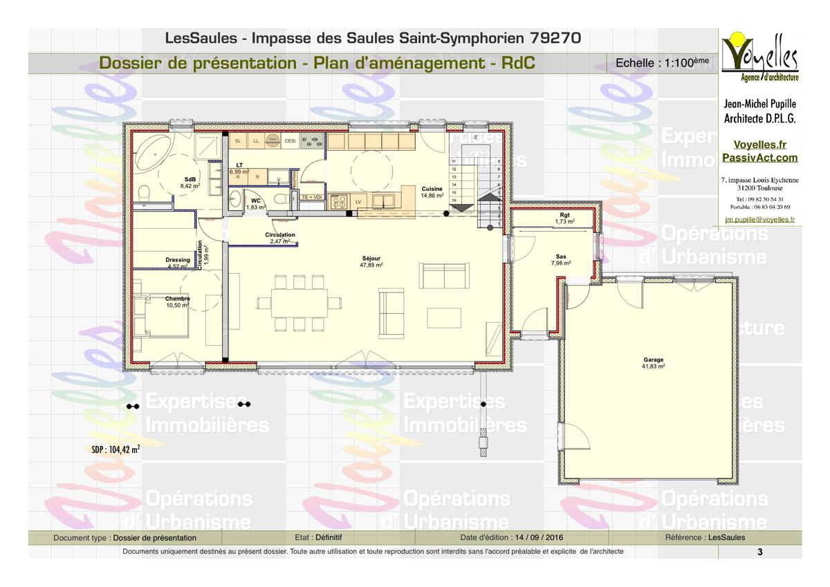 Maison passive LesSaules, plan du Rez-de-Chaussée