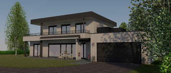 LesSaules, vue 3D du projet de maison passive