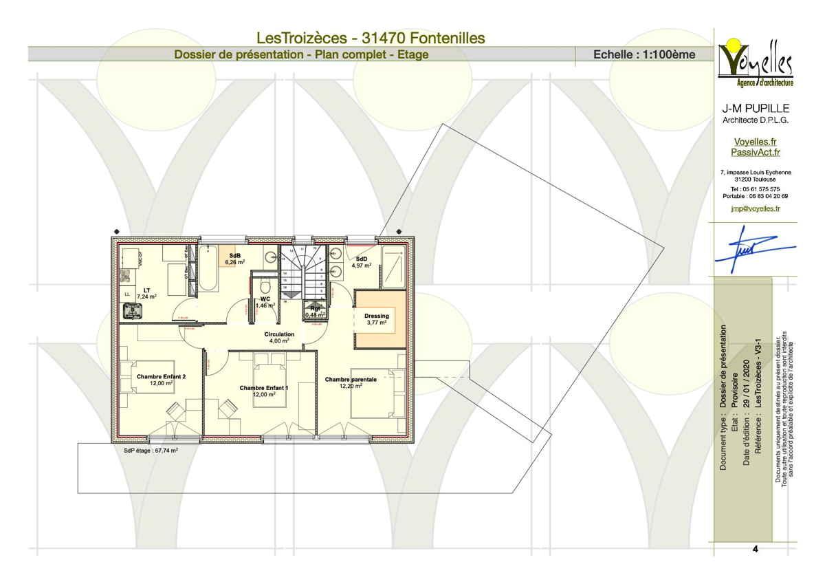 Maison passive LesTroizèces, plan de l'étage