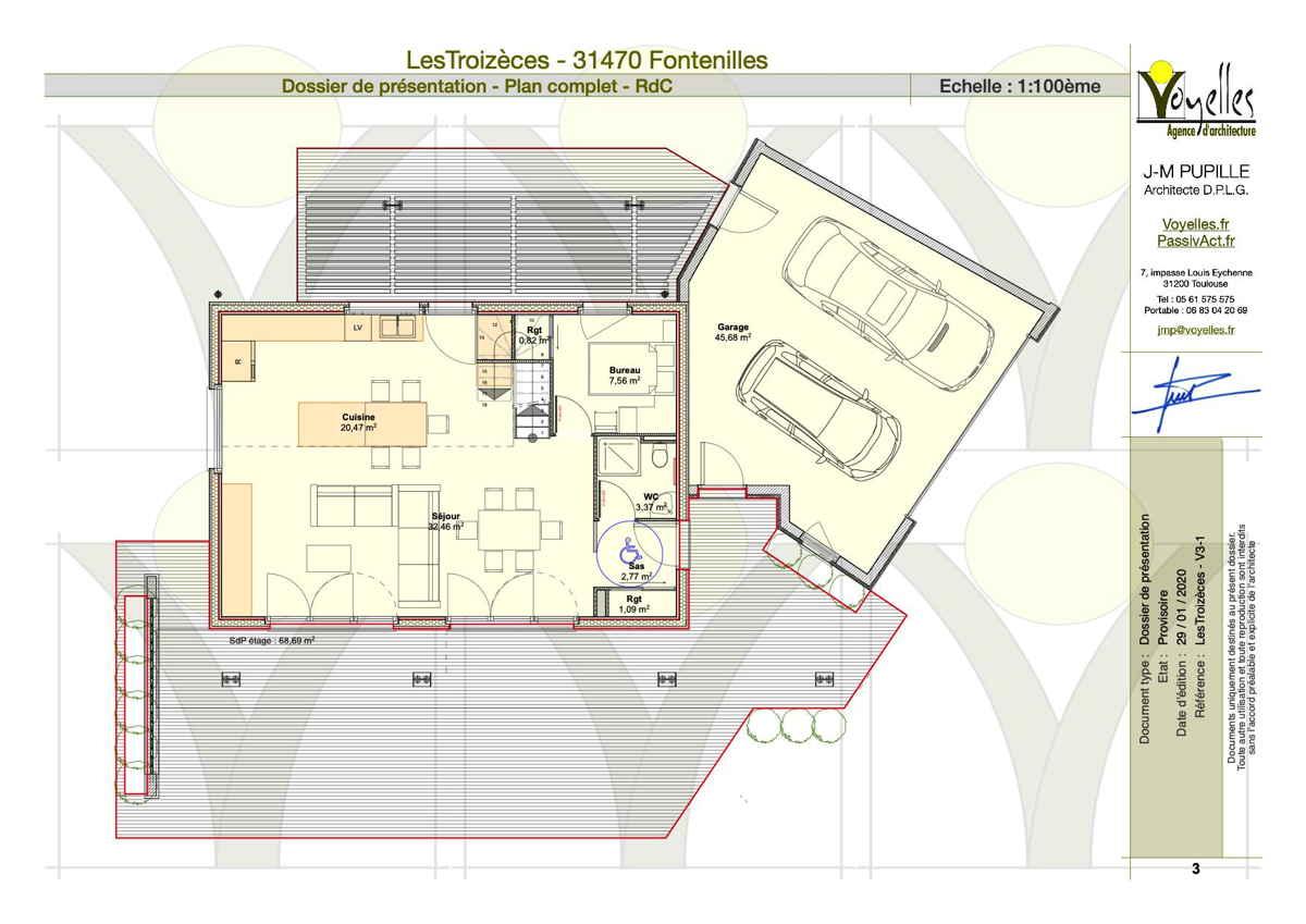 Maison passive LesTroizèces, plan du Rez-de-Chaussée