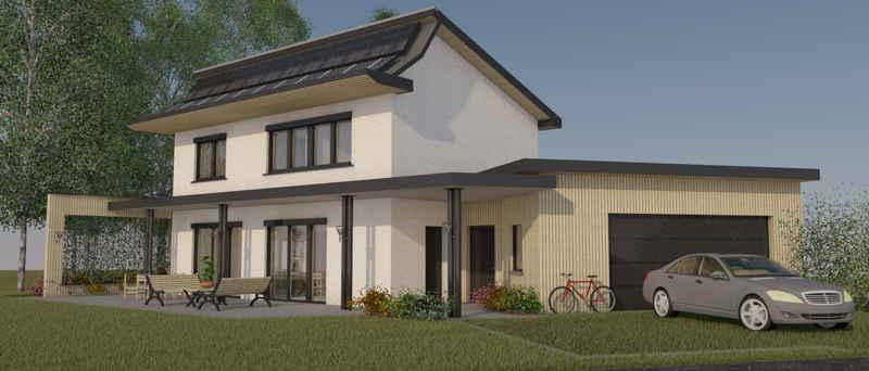 Maison passive LesTroizèces, vue 3D de jour du projet