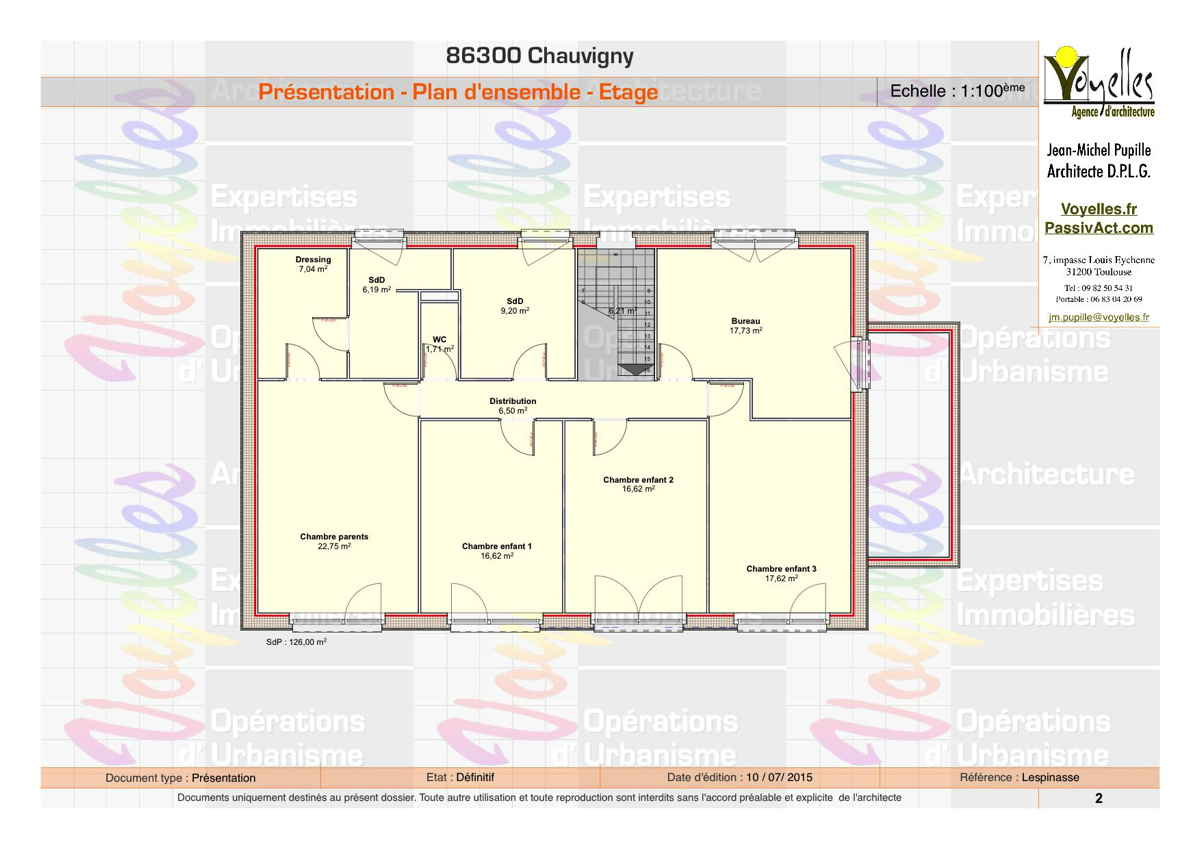 Maison passive Lespinasse, plan de l'étage