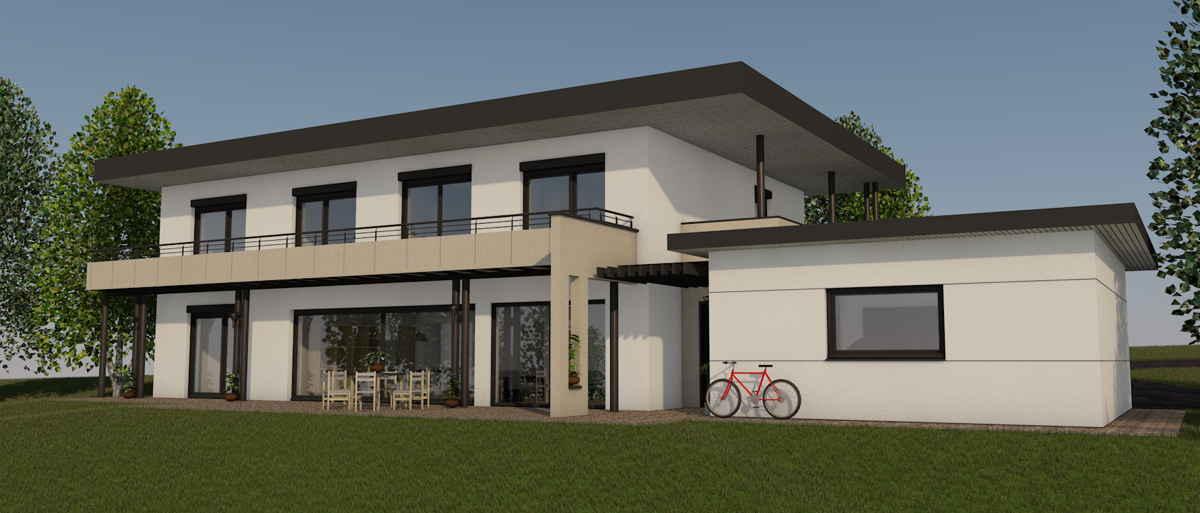Maison passive Lespinasse, vue 3D sud-ouest