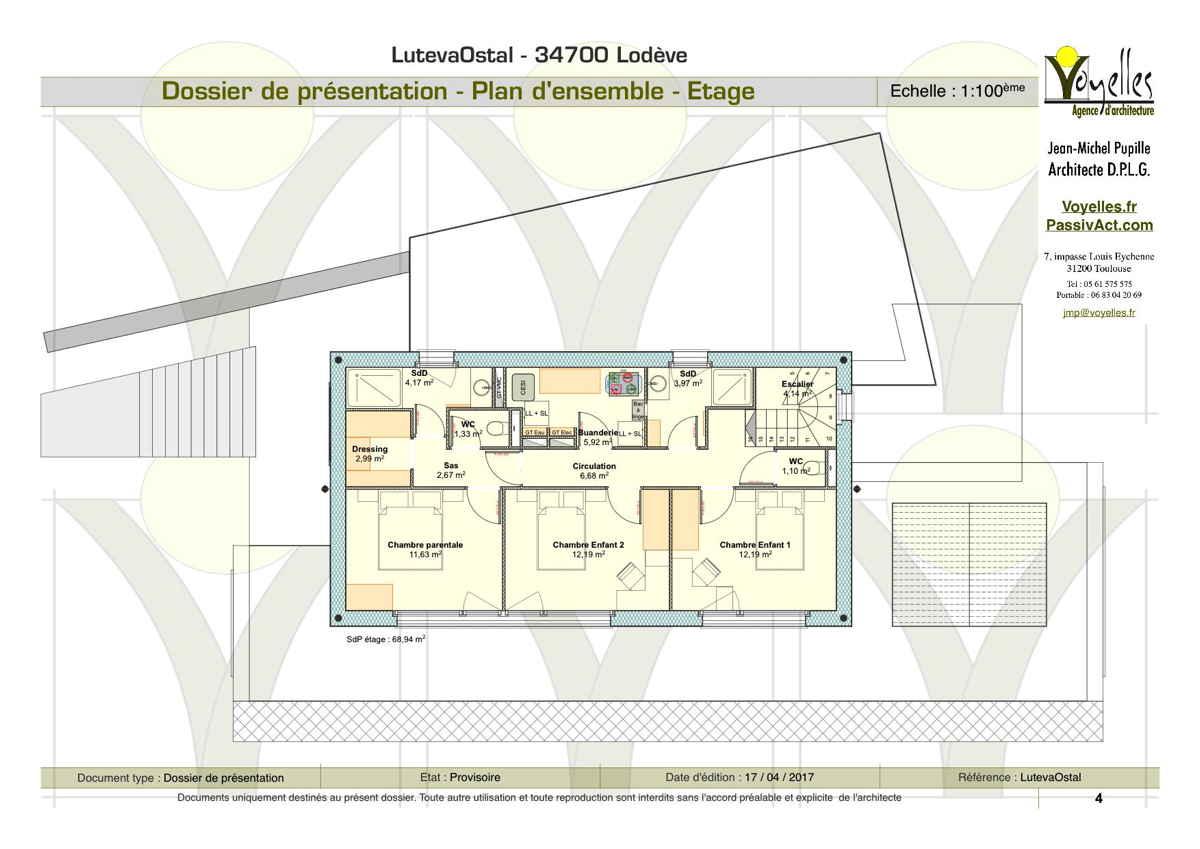 Maison passive LutevaOstal, plan de l'étage