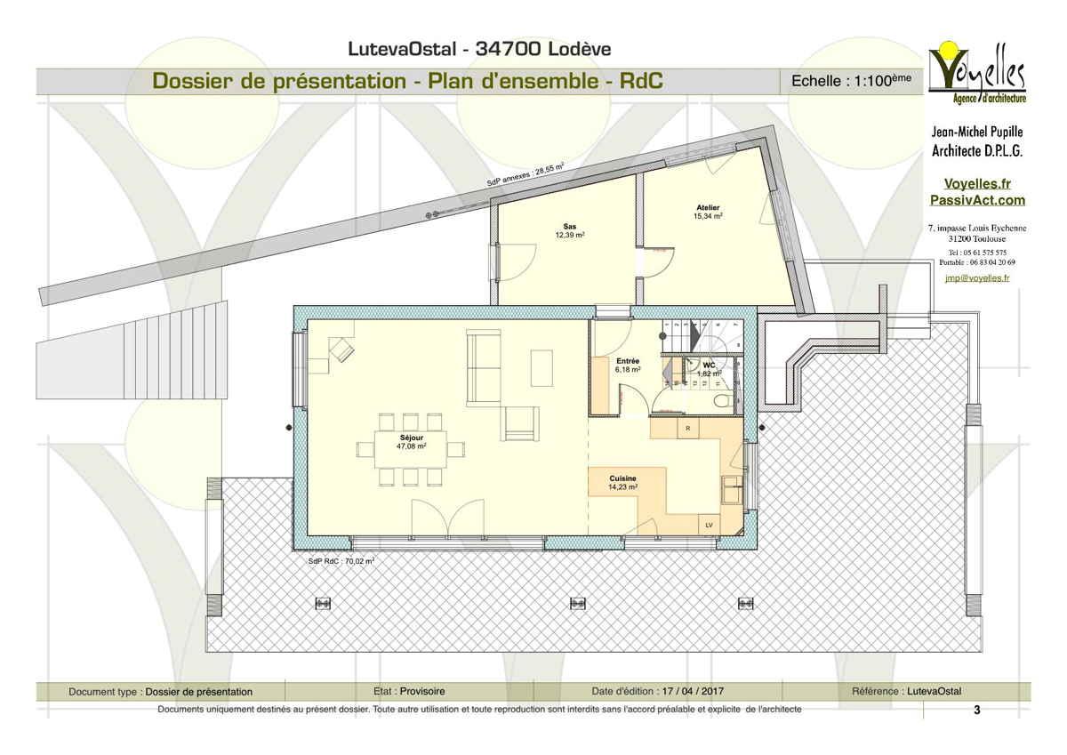 Maison passive LutevaOstal, plan du Rez-de-Chaussée
