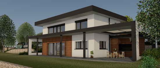 LutevaOstal, vue 3D du projet de maison passive
