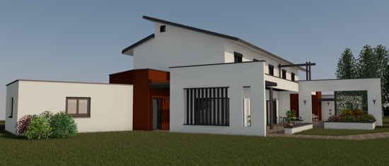 MP2, vue 3D du projet de maison passive