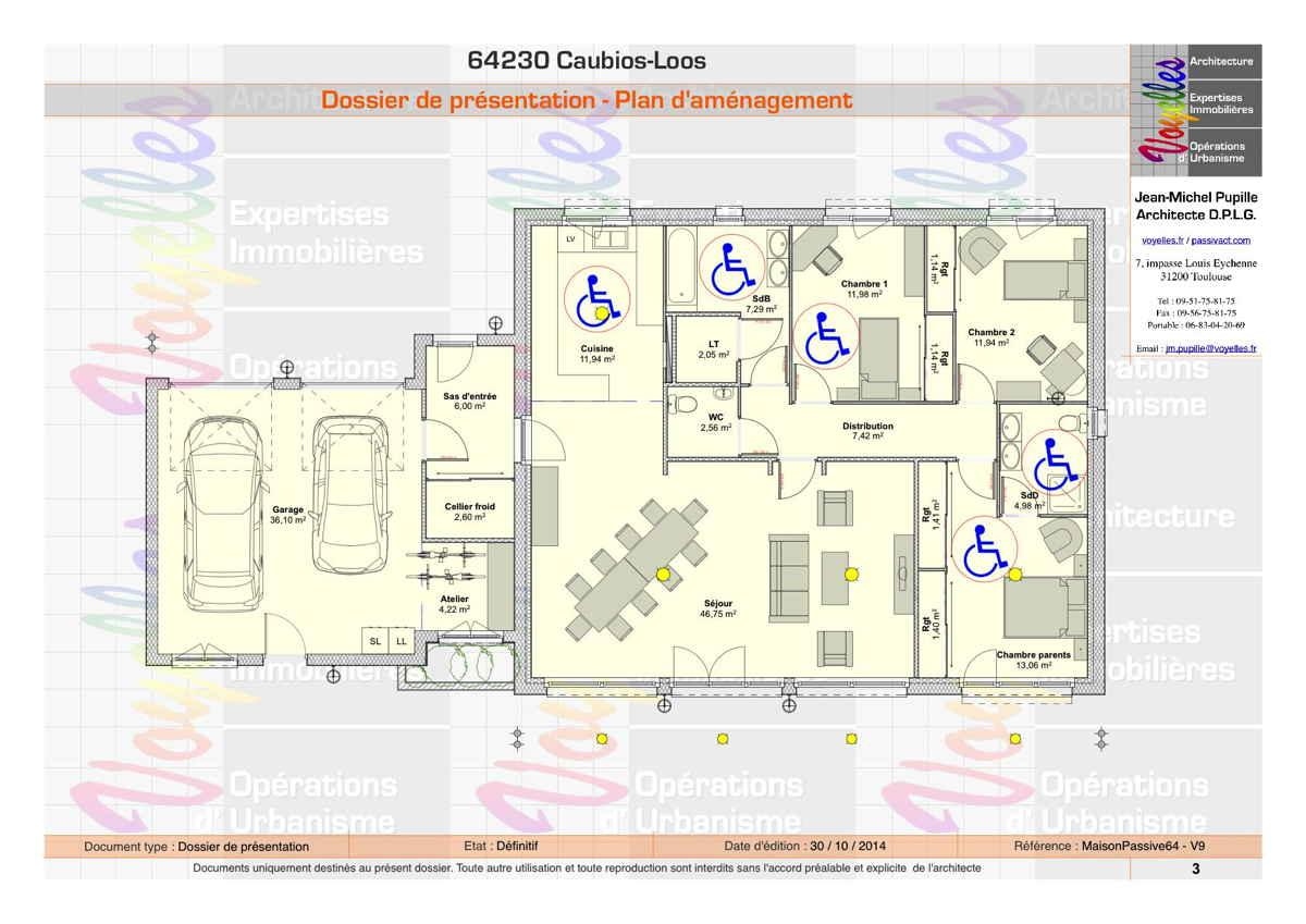 Maison passive MaisonPassive64, plan du Rez-de-Chaussée