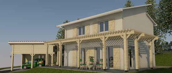 Mirraoussou, vue 3D du projet de maison passive
