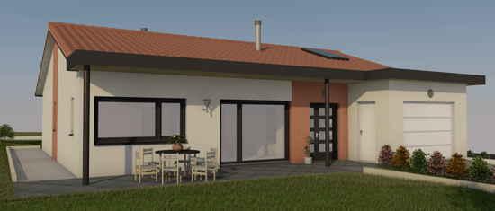 PortSud-M1, vue 3D du projet de maison passive