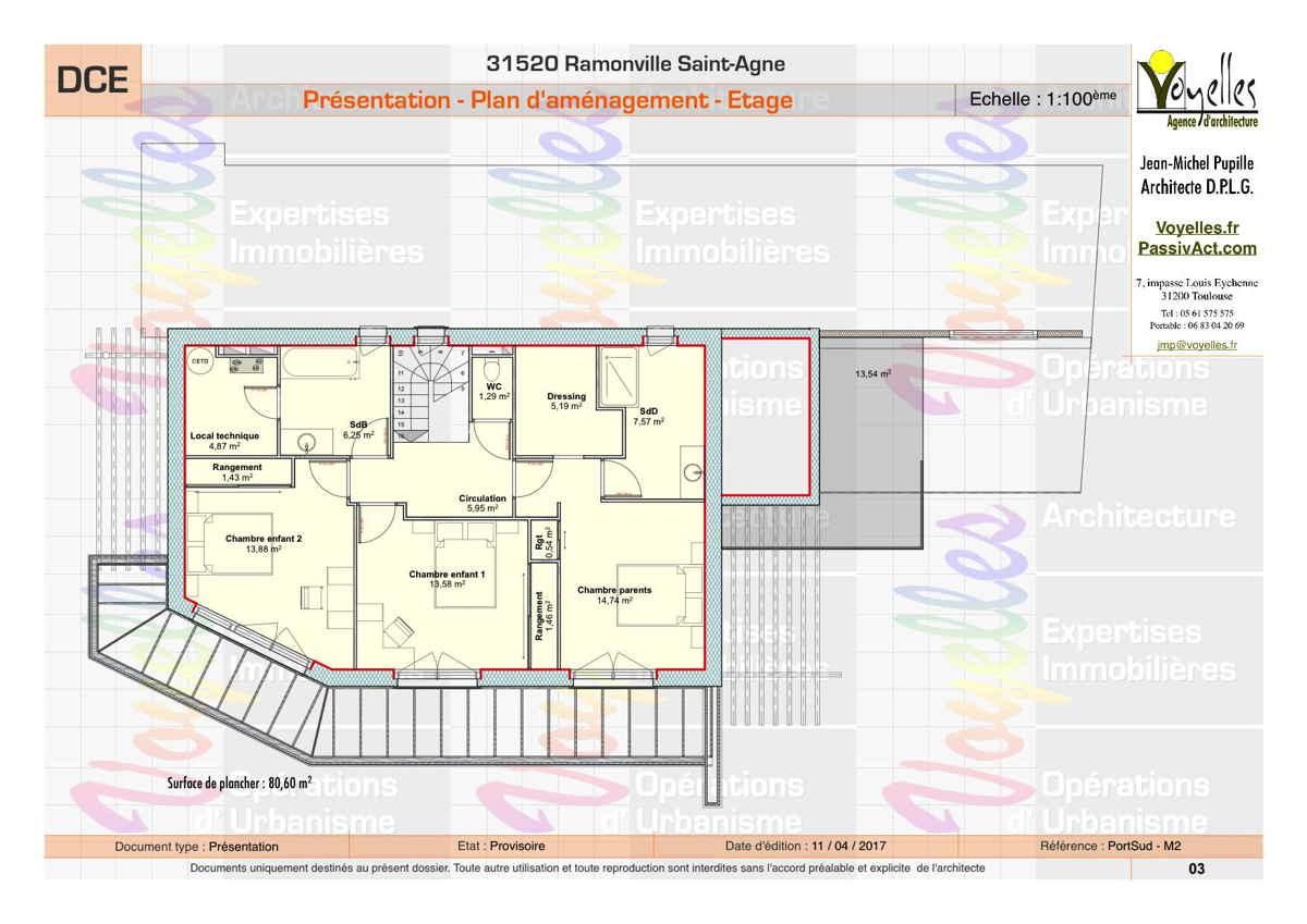 Maison passive PortSud-M2, plan de l'étage