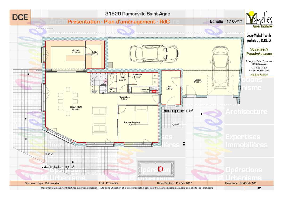 Maison passive PortSud-M2, plan du Rez-de-Chaussée