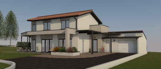 PortSud-M2, vue 3D du projet de maison passive
