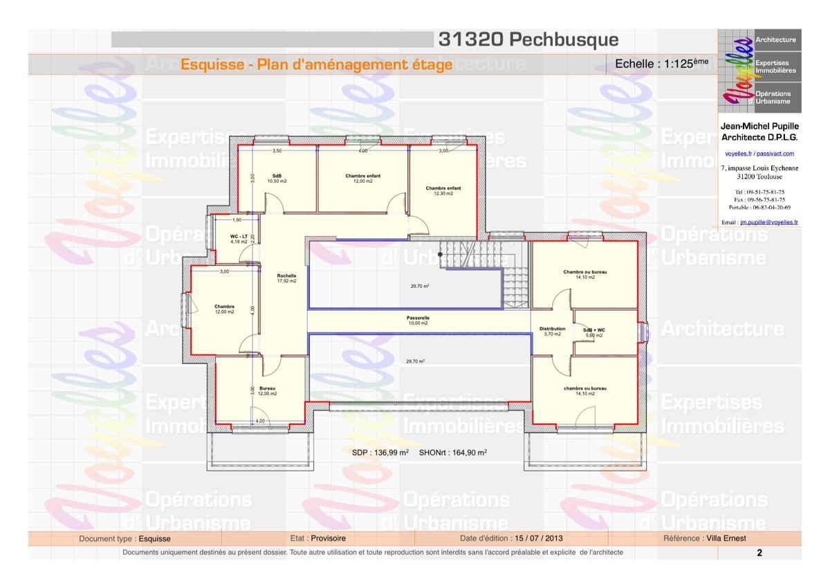 Maison passive VillaErnest, plan de l'étage