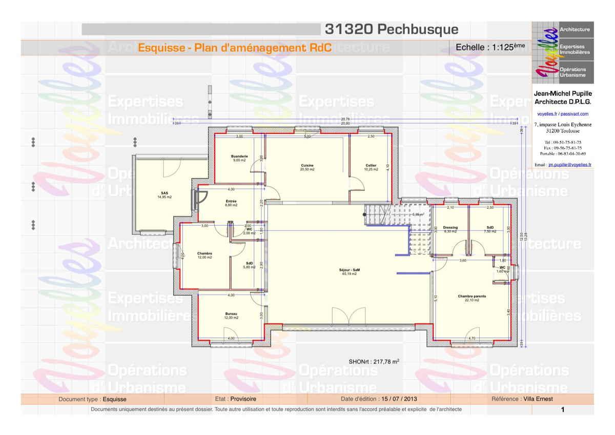 Maison passive VillaErnest, plan du Rez-de-Chaussée