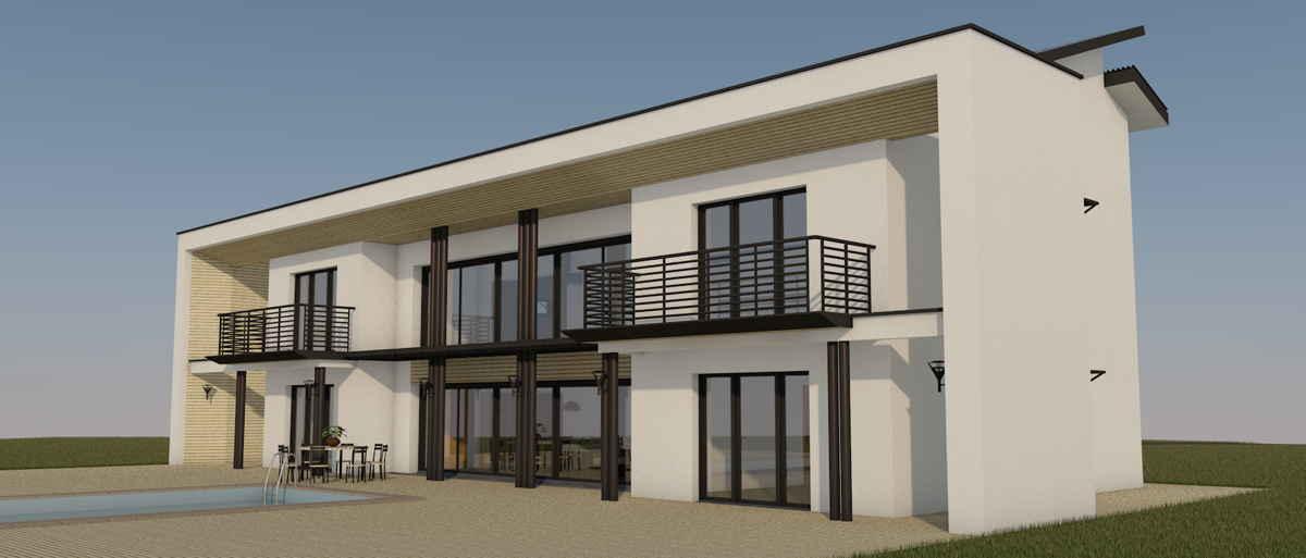 Maison passive VillaErnest, vue 3D sud-est