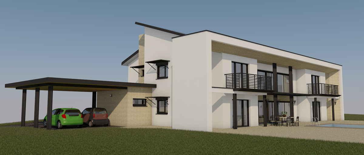 Maison passive VillaErnest, vue 3D sud-ouest