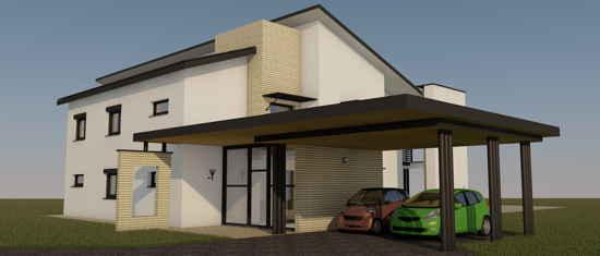 Maison passive VillaErnest, vue 3D nord-ouest
